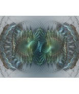 Twisted Time, fractal based Digital Art sized 11x14, blue gr - $24.99