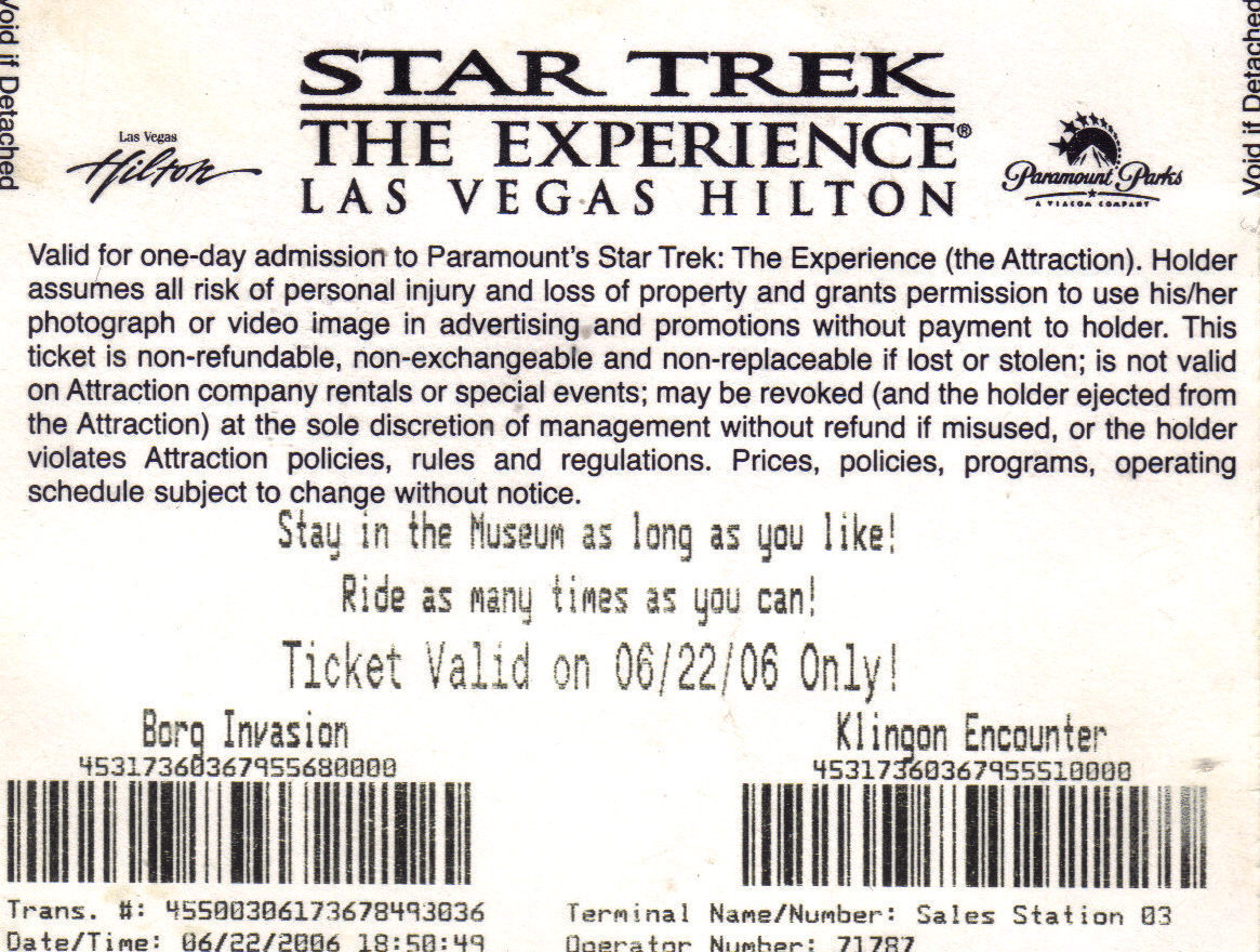 STAR TREK The Experience Las Vegas Hilton Ticket Stub 2006