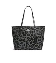 NEW WOMEN'S COACH (F39037) GRAY LEOPARD PRINT JACQUARD ZIP TOTE HAND BAG - $118.79