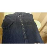 R & R Casuals-Unisex-XXL-Short Sleeve-Button Up-Denim Shirt-Blue-Embroid... - $7.19