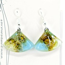 Handmade Recycled Fused Glass Blue & Brown Triangle Hook Earrings Made Ecuador image 2
