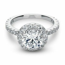 3.00 Ct Simulated Diamond Round Cut Halo Engagement Ring Solid 14K White... - $586.96