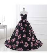 Women's A line Sweetheart Strapless Floral Print Ball Gowns Long Prom Dr... - $118.99