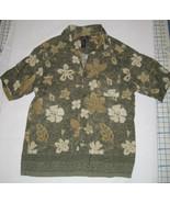 Green Hawaiian Shirt 100% Rayon Size Large Flowers Floral EUC Crazy Horse - $24.24