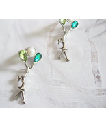 Flying With Green Balloons. Silver Plated Studs... - $16.90