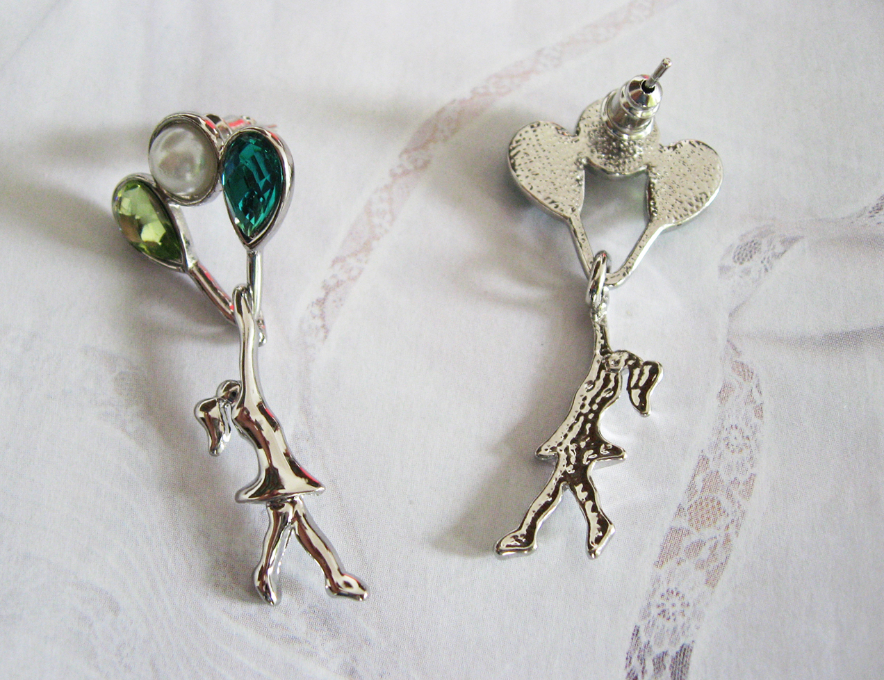 Flying With Green Balloons. Silver Plated Studs Earrings. Da