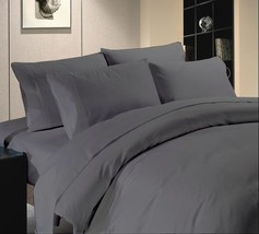 4 PCs Bed Sheet Set 1200 Thread Count Egyptian Cotton Dark Grey Solid US... - $67.29
