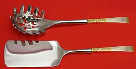 Golden Scroll By Gorham Sterling Silver Italian Pasta Server Set 2PC Hhws Custom - $127.40