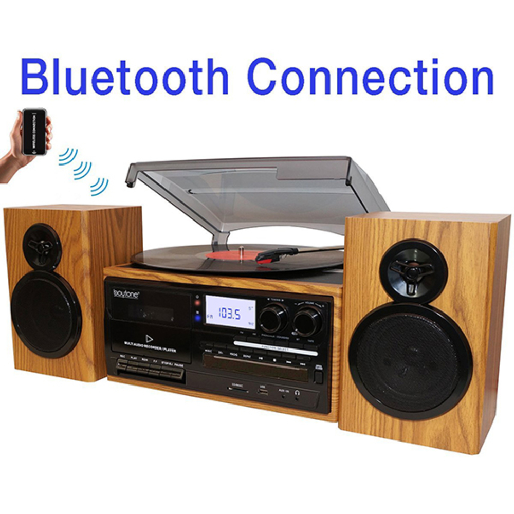 Boytone BT-28SPW, Bluetooth Classic Style Record Player Turntable with AM/FM Rad