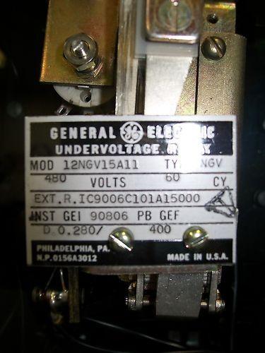 General Electric Undervoltage Relay 12NGV15A11 480 Volt