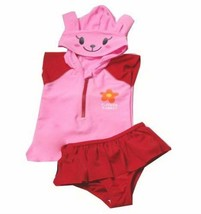 PANDA SUPERSTORE Cute Bunny Swimsuit, Two Piece for Girl, Pink, 5-6 Years Old, 7