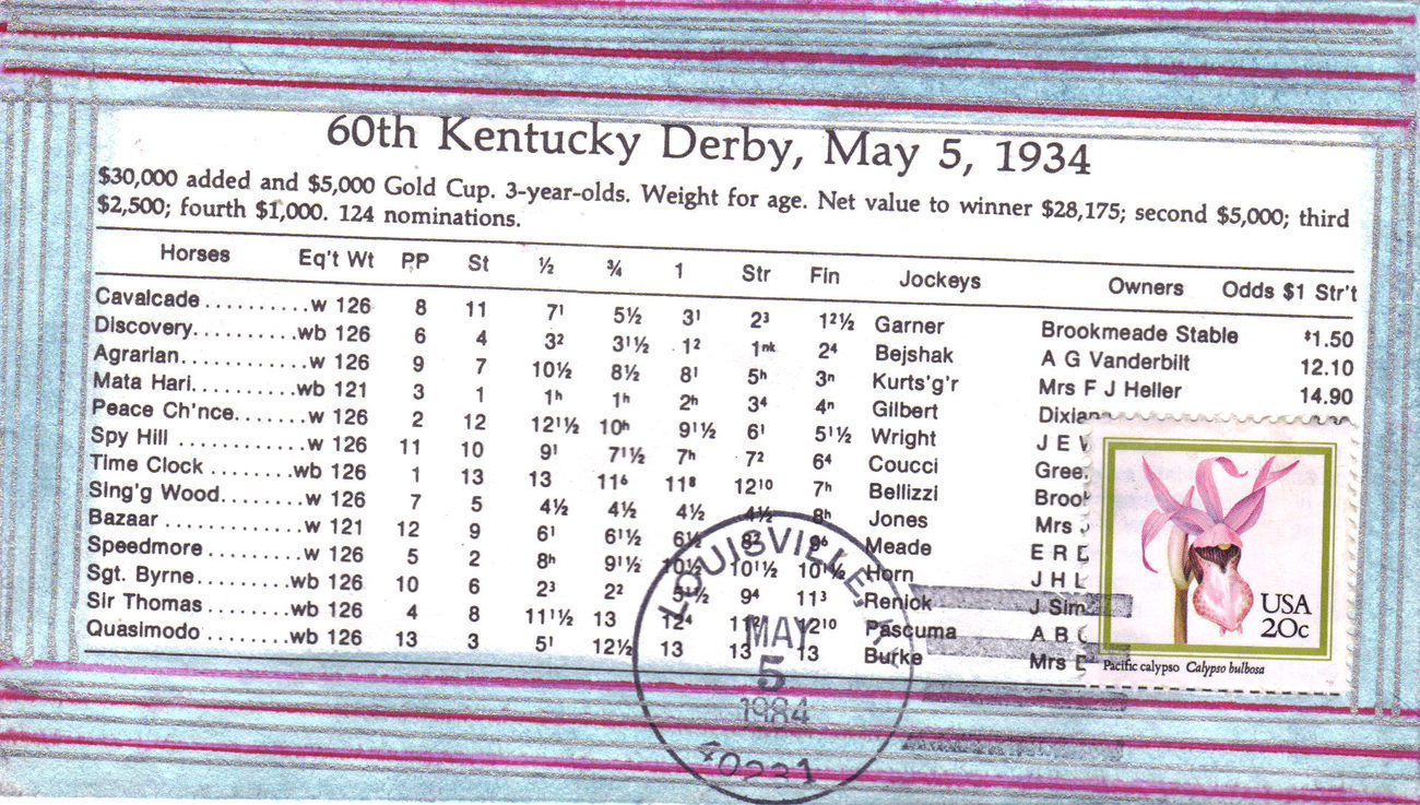 60th KENTUCKY DERBY MAY 5 1934 First Day Issue