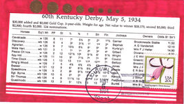 60th KENTUCKY DERBY MAY 5 1934 1st Day Issue - $7.95