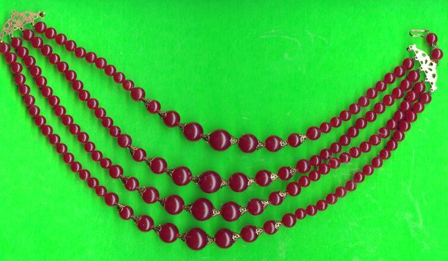 Old Cranberry Red 4 Strand  Bead Necklace