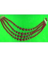 Old Cranberry Red 4 Strand  Bead Necklace - $5.00