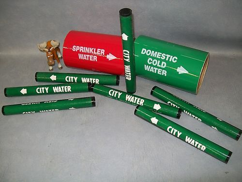 Lot of 9 Pipe labels for City Sprinkler domestic water