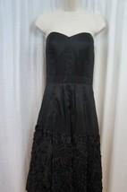 Jessica Simpson Dress Sz 6 Solid Black Strapless Taffetta Evening Cocktail Dress - $69.26