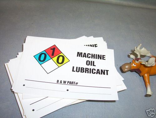 Machine Oil Lubricant Stickers Large Lot