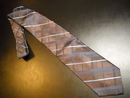 Joseph Abboud Neck Tie Joe Dark Brown with Diagonal Stripes Blues Imported Silk - $12.99
