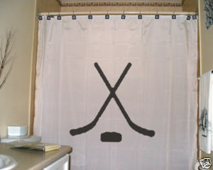 SHOWER CURTAIN sport Hockey sticks puck shoot score ice