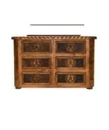 Rustic Dresser With Rope, Star & Cowhide Western Real Wood Cabin Lodge - $1,732.49