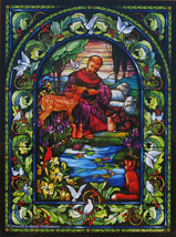 SunsOut Randy Wollenmann St Francis 1000 pc Jigsaw Puzzle Stained Glass Window - $15.83