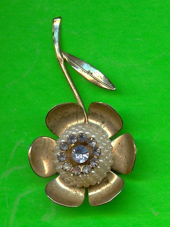 Vintage Sapphire Blue Rhinestone and Pearl Flower Pin