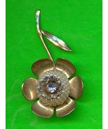 Vintage Sapphire Blue Rhinestone and Pearl Flower Pin - $5.00