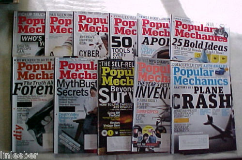 11)POPULAR MECHANICS MAGAZINES-2009 SCIENCE,TECHNOLOGY,AUTOMOTIVE,HOME,OUTDOORS