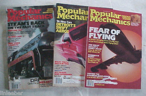 (3)POPULAR MECHANICS MAGAZINES-1985 SCIENCE,TECHNOLOGY,AUTOMOTIVE,HOME,OUTDOORS