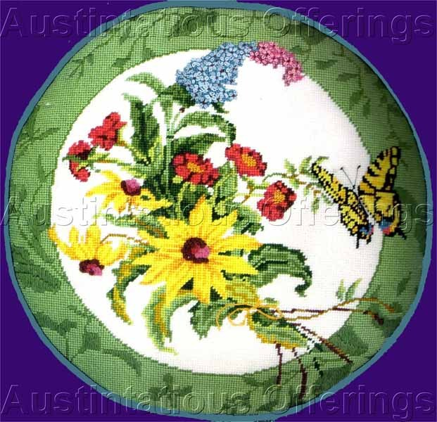 Rare Golz Rush Butterfly Needlepoint Kit Wildflower Bouquet