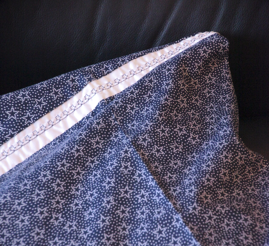 Embellished Queen Pillow Case Set - Stars (Blue & White)
