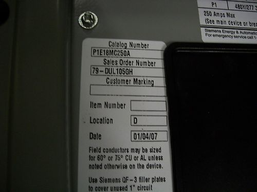 Siemens 250 amp P1E18MC250A Breaker Distribution Panel