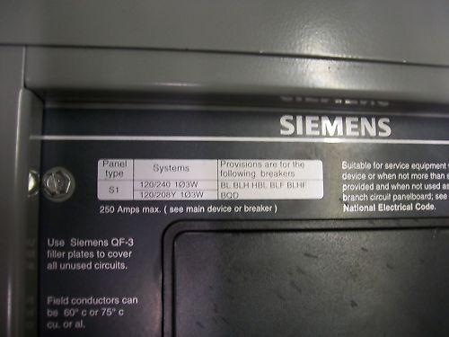 Siemens I1A42MC250C 120/240V 250 Amp Breaker Panel S1