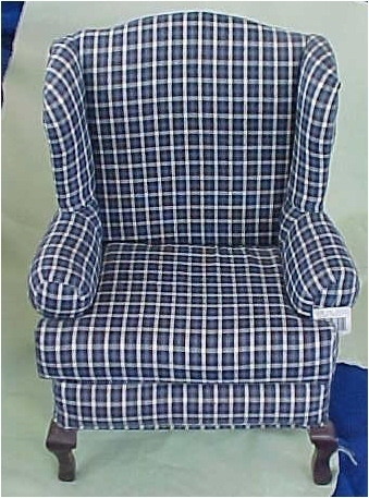 Blue Plaid Wingback Chair for Teddies and Friends from Tender Heart Treasures
