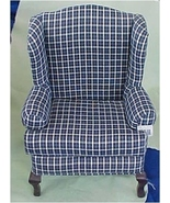 Blue Plaid Wingback Chair for Teddies and Frien... - $30.00