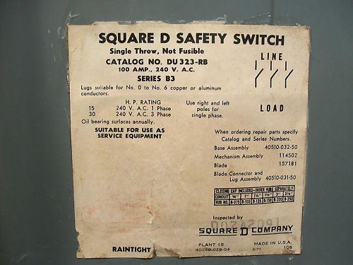 Square D Safety Switch DU323-RB 100 amp 240vSquare D Safety Switch DU323-RB 3 po