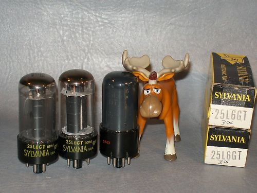 Sylvania & CBS 25L6GT Electronic Vacuum Tube Lot of 3