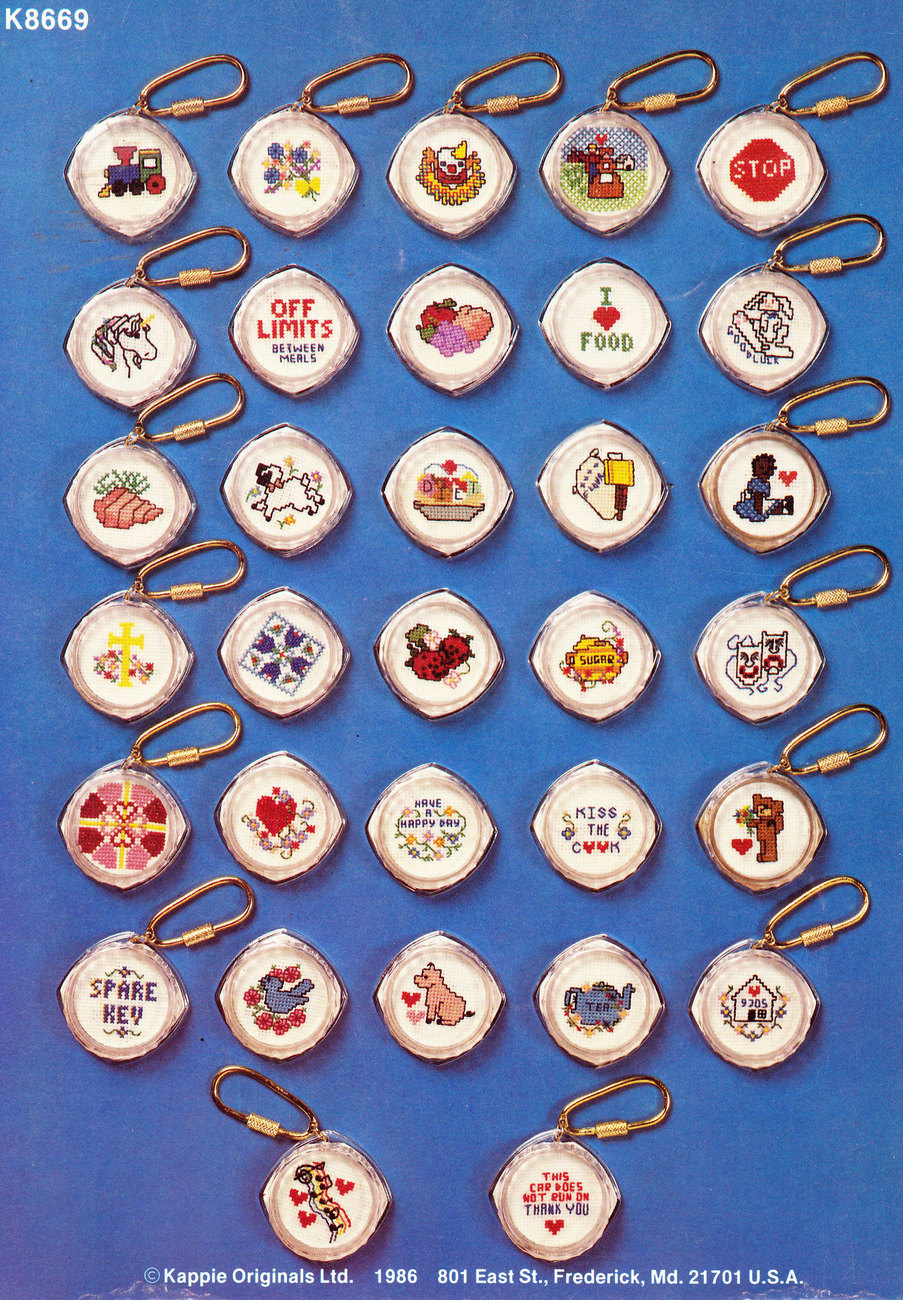 COUNTED CROSS STITCH SOMETHING FOR YOU MINIS MAGNET KEY CHAINS KAPPIE BOOK 69