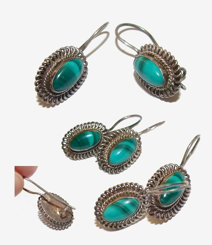 VINTAGE GORGEOUS STERLING SILVER & MALACHITE EARRINGS