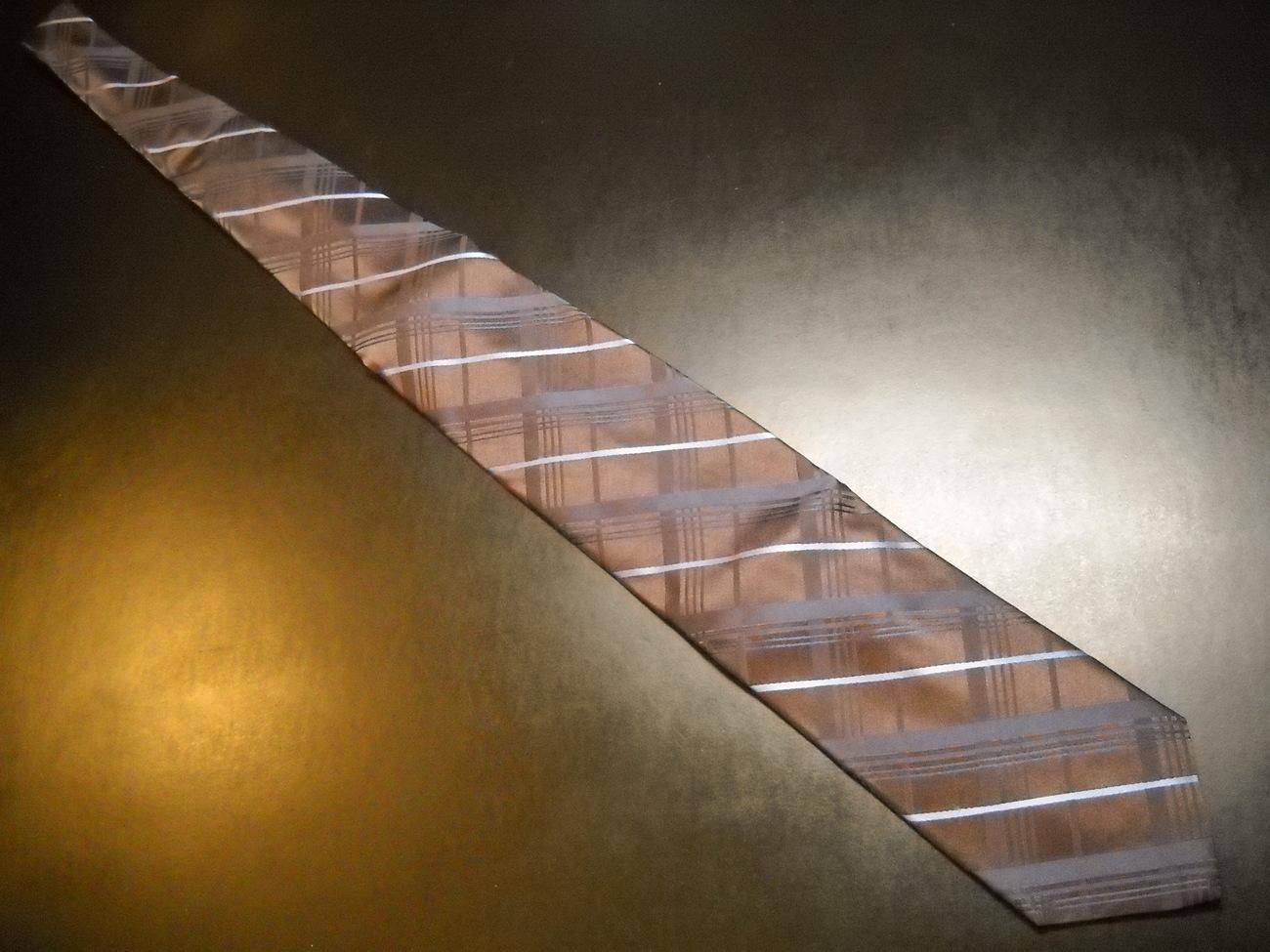 Joseph Abboud Neck Tie Joe Dark Brown with Diagonal Stripes Blues Imported Silk