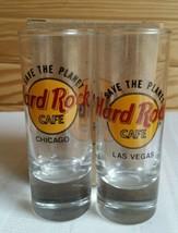Hard Rock Cafe SHOT GLASS Save the Planet Chicago Vegas Black Letters Se... - $14.26