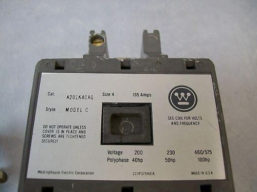 Westinghouse  A201K4CAG Nema Size 4 Contactor 120v Coil