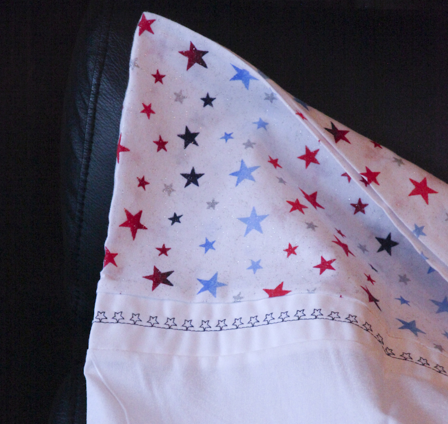 Embellished Pillow Case Set/Red-White-Blue Stars - Two Queen Cases