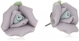1928 Jewelry Classic Lavender Purple Porcelain Rose Post Stud Earrings - $40.45