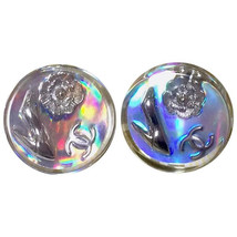Vintage CHANEL silver tone and rainbow aurora shining earrings with charms. - $268.00