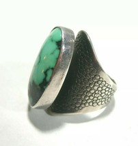 VINTAGE LARGE WIDE KWS SIGNED ARTISAN STUDIO STERLING SILVER TURQUOISE RING - $120.00
