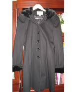 Coat Women Charles Klein Black Wool with Faux Fur Size 6 - $99.99