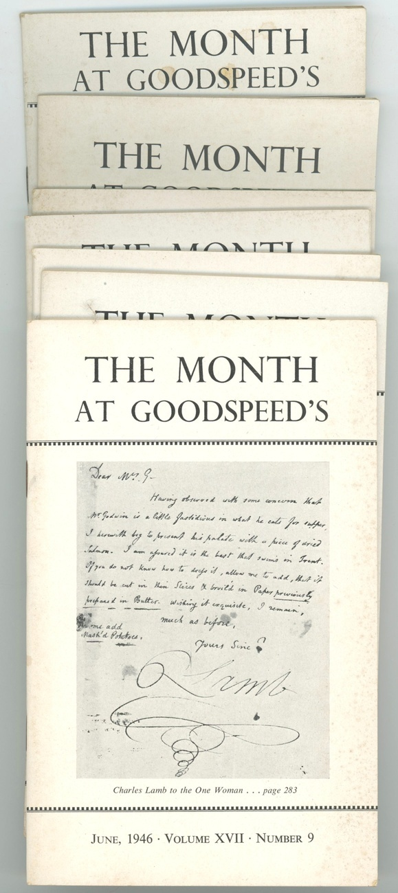 The Month at Goodspeed's lot of 7 issues rare book store documents 1946 prints
