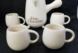 French Cafe Ceramic Hot Chocolate Serving Pitcher & 4 Mugs Set of 5 White image 12